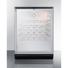 Commercially Approved Wine Cellar for Built-in Undercounter Use With Glass Door, Black Cabinet, and Full Stainless Steel Handle