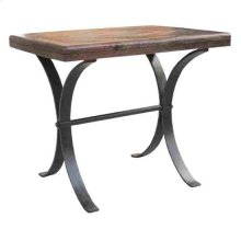 Bengal Manor Iron and Acacia Wood Diamond Pattern Rectangle End Table