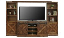 """Farmhouse 66"""" TV Console with Side Piers and Bridge"""