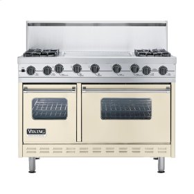 "Biscuit 48"" Sealed Burner Self-Cleaning Range - VGSC (48"" wide, four burners & 24"" wide griddle/simmer plate)"