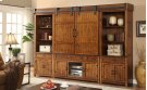 """Industrial Entertainment Wall Unit - 64"""" Console   Bridge & Doors   Hutch & Back Panels   (2) Bookcases Product Image"""