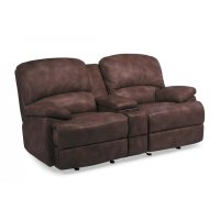 Dylan Leather Power Chaise Reclining Loveseat with Console Product Image