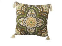 Green Medallion Pillow with Tassels. Product Image