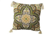 Green Medallion Pillow with Tassels.