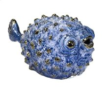 Blue Ceramic Puffer Fish 10""