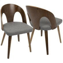 Ava Dining Chair - Walnut Wood, Grey Fabric