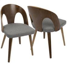 Ava Dining Chair - Walnut Wood, Grey Fabric