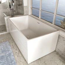 Free-standing soaking bathtub made of luster white acrylic with an overflow and polished chrome drain, net weight 110 lbs, water capacity 79 gal.
