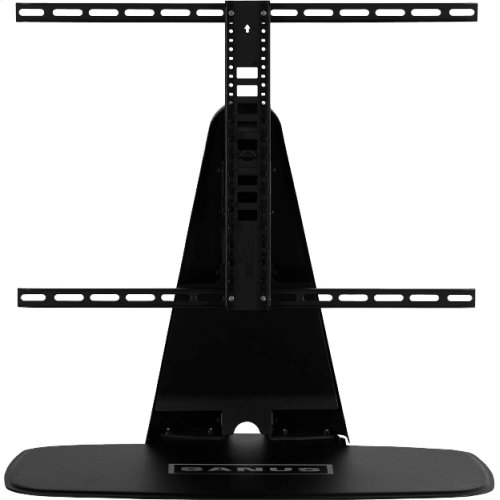 Black- Custom-designed swivel base for a TV and Playbase.