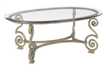 Solano Oval Cocktail Table Glass Top and Base