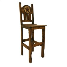 "30"" Barstool W/Wood Seat and Stone Star Medio Finish"