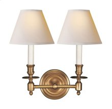 Visual Comfort S2112HAB-NP Studio French Library 2 Light 13 inch Hand-Rubbed Antique Brass Decorative Wall Light in Natural Paper