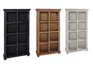 Distressed Pine Bookcase - White, Black, \u0026 Pine Finish