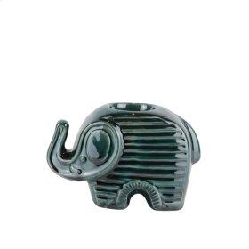 Ceranic Elephant Tea Light Holder, Green
