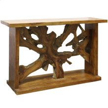 Bennet Console Table  52in X 33in X 16in  Rustic Solid Teak Root and New Teak in a natural Oil Rub