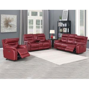 Steve Silver Co.Fortuna Wine 3-Piece Dual-Power Leather Motion Set(Sofa, Loveseat & Chair)