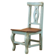 """Alis"" Turquoise/Walnut Chair"