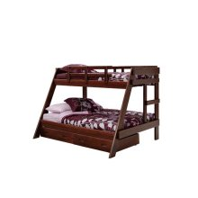 Heartland A-Frame Bunk Bed with options: Chocolate, Twin over Full, 2 Drawer Storage