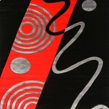 "Aisling 5' 3"" X 4"" Black & Red Area Rug"