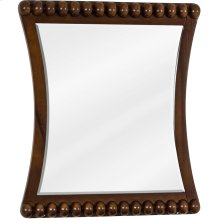 """24"""" x 28"""" Rosewood mirror with beaded accents and beveled glass"""