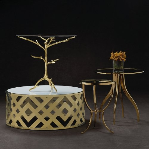 Adella Round Chairside Table in #19 Bright Brass
