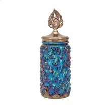 Peacock Lidded Large Decorative Canister