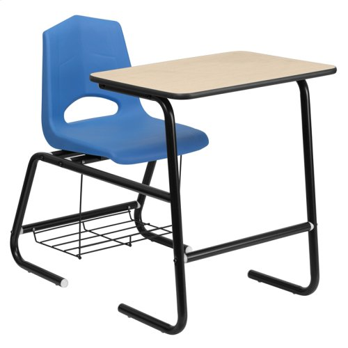 HERCULES Series Black Frame Student Combo Desk with Blue Shell Chair, Natural Laminate Top and Book Rack