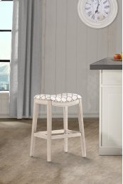 Sorella Non-swivel Backless Bar Stool - Full K/d Construction - White (wirebrush)