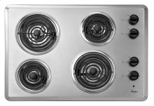 "Whirlpool 30"" Electric Cooktop with Dishwasher-Safe Knobs"