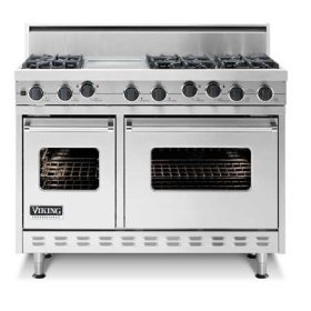 """48"""" Sealed Burner Range - VGIC (48"""" wide range with four burners, 12"""" wide griddle/simmer plate and 12"""" wide char-grill, double ovens)"""