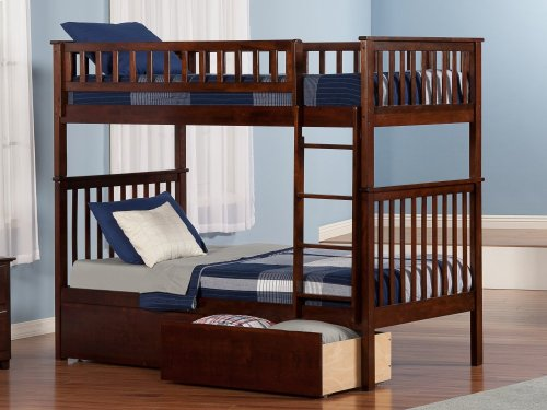 Woodland Bunk Bed Twin over Twin with Urban Bed Drawers in Walnut