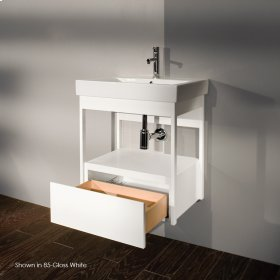 "Wall-mount under-counter vanity with finger pulls on one drawer, 22 1/4""W, 16 1/4""D, 24""H."