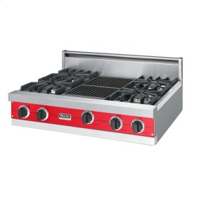 """Racing Red 36"""" Sealed Burner Rangetop - VGRT (36"""" wide, four burners 12"""" wide char-grill)"""