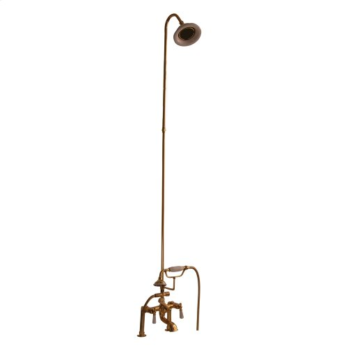 Tub/Shower Converto Unit - Elephant Spout, Riser, Showerhead, Lever Handles - Polished Brass