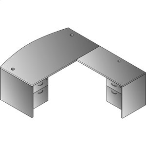 "Lodi L-shape W/bow Top Desk 71""x88"""