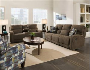 Double Reclining Sofa with Pillows