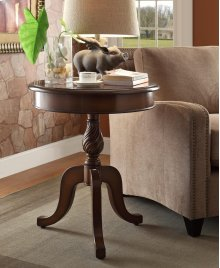 Round Cherry Top End Table