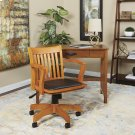 Deluxe Wood Banker's Chair With Vinyl Padded Seat In Fruit Wood Finish With Black Vinyl Product Image