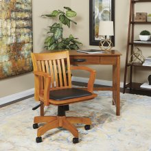 Deluxe Wood Banker's Chair With Vinyl Padded Seat In Fruit Wood Finish With Black Vinyl