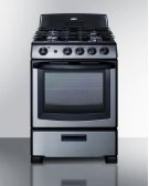 "24"" Wide Gas Range In Stainless Steel With Oven Window, Sealed Burners, and Continuous Cast Iron Grates; Replaces Pro246ss Product Image"