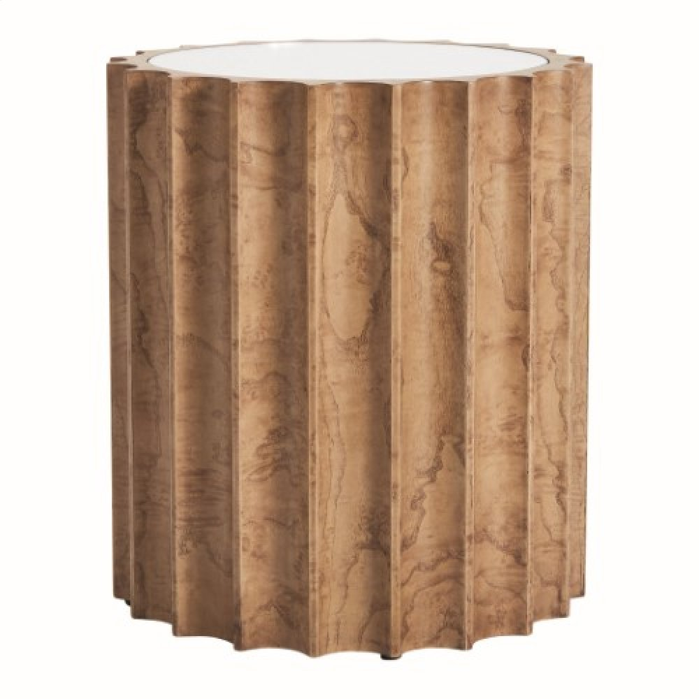 Reflective Column Side Table-Olive Ash Burl