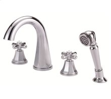 Chrome Roman Tub High-Rise Spout Cross Handle Faucet with Soft Touch Personal Shower