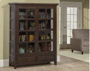 Tuscan Retreat® Display Cabinet 2 Doors 2 Drawers With Clear Glass - Rustic Mahogany Product Image