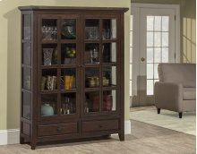 Tuscan Retreat® Display Cabinet 2 Doors 2 Drawers With Clear Glass - Rustic Mahogany