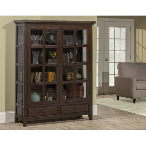 Hillsdale FurnitureTuscan Retreat(r) Display Cabinet 2 Doors 2 Drawers With Clear Glass - Rustic Mahogany