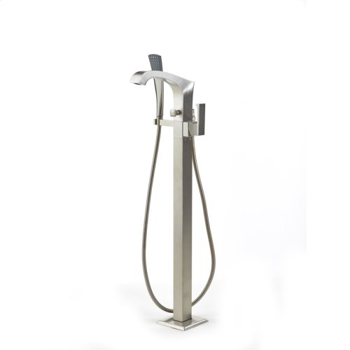 Single Supply Floor Tub Filler Leyden Series 14 Satin Nickel