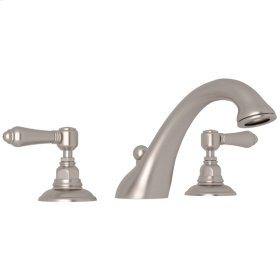 Satin Nickel Viaggio 3-Hole Deck Mount C-Spout Tub Filler with Metal Lever