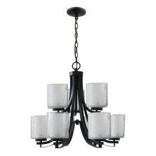 9-Light Double Tier Modern Chandelier in Oil Rubbe