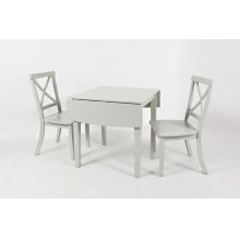 Everyday Classics Drop Leaf Table With 2 Ladder Back Chairs- Dove