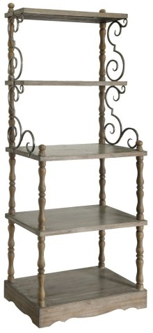 Willow Creek Scroll Metal and Wood Tiered Etagere